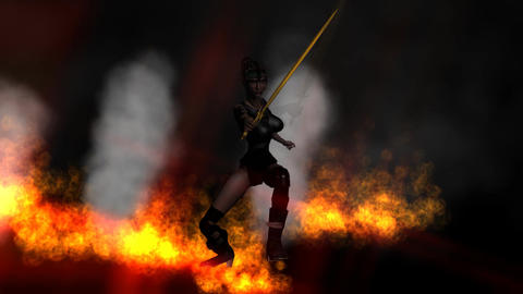 Female Sword Fighter with Flaming Background: Loop Animation