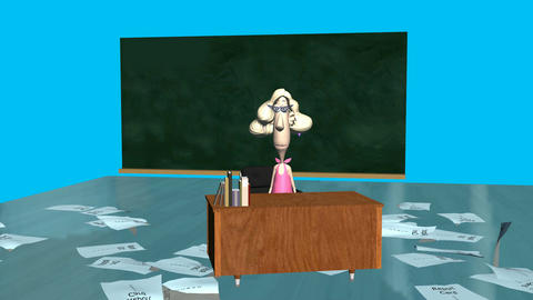 Overwhelmed Teacher Animation: + Matte stock footage