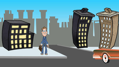 Cartoon Man Waiting to Cross Street(1080): Looping Animation