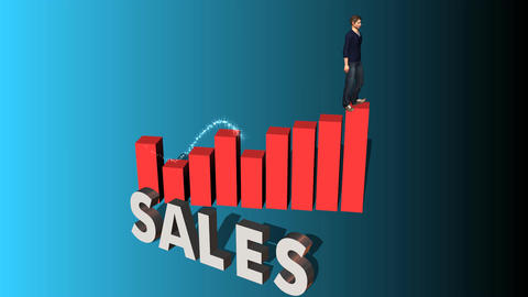 Walking up Chart of Success: Sales Edition Animation