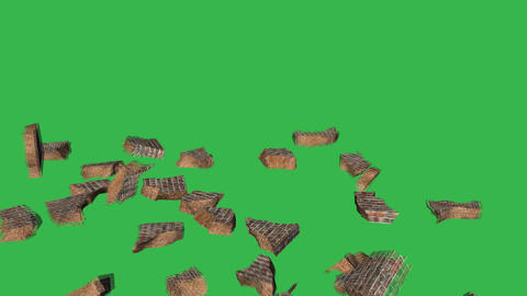 Collapsing Wall: Greenscreen Stock Video Footage