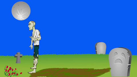 Rising Zombie in Cemetery: + Matte + Loop Animation