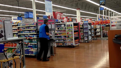 One Side Of Pharmacy Inside Of Walmart Store In Po stock footage