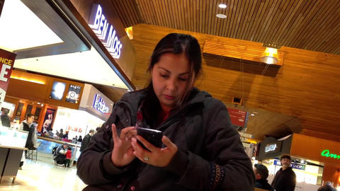 Close up woman reading mobile phone message with C Footage