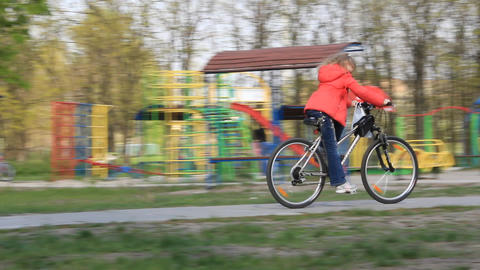 Little girl on bicycle Footage