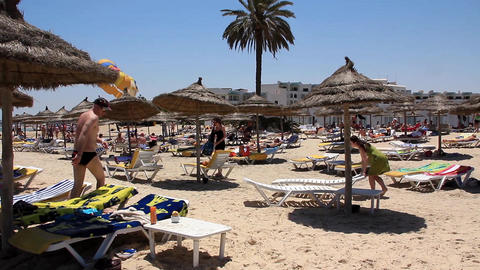 Beach In Sousse stock footage