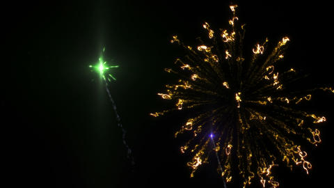 Six shots of fireworks on the black background Animation