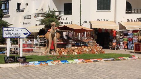 Shopping Area In Port El Kantaoui, Tunisia stock footage