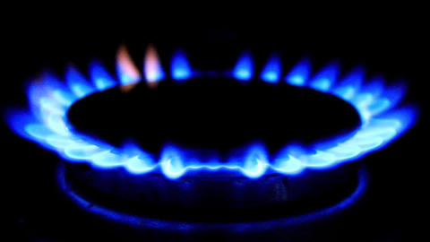 Blue flames of a gas stove Footage