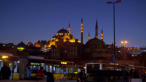 Suleymaniye Mosque in night Footage