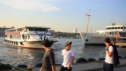 Motorboat leaves from Kadikoy Pier Footage