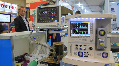 Medical equipment on medical exhibition Footage
