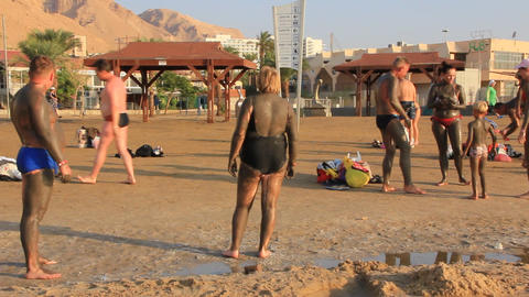 Dead Sea. Mud therapy Footage