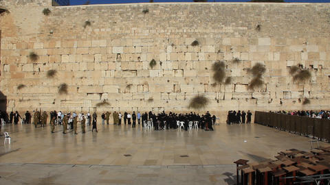 The Wailing Place of the Jews. Wailing Wall. Western Wall in Jerusalem, Israel Live Action