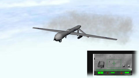Military Drone Flying w/ Target Footage: Animated  Animation