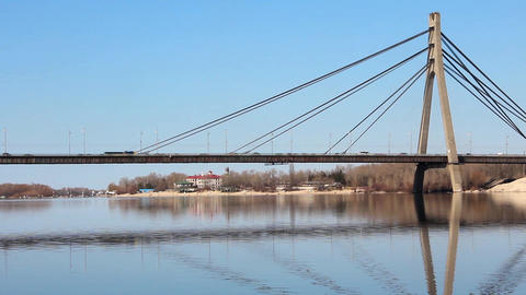 Moscow bridge in Kiev, Ukraine Footage