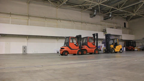 Storage room and forklift loaders Footage