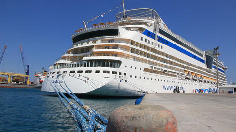 Cruise ship in port, Antalya, Turkey Footage