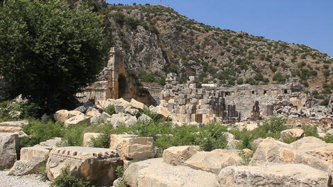 Ruins of ancient Greek-Roman amphitheatre. Myra, old name - Demre, Turkey Footage