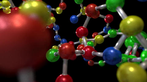 Molecule ball and stick model fly through atoms ch Animation