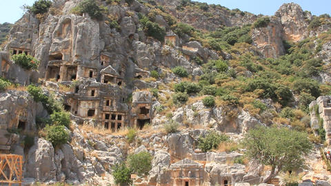 Rock-cut tombs of the ancient Lycian necropolis. Myra, Demre, Turkey Footage