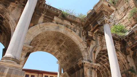 Ancient gate of Roman emperor Adrian at Antalya city center, Turkey Footage