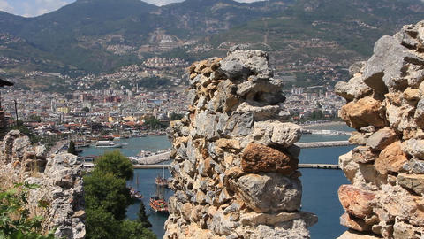 Ruins of old fortress wall, Alanya, Turkey Footage