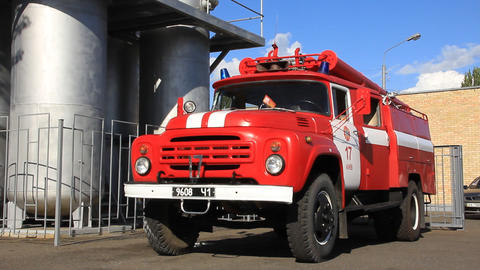 Red Firetruck In Fire Department stock footage