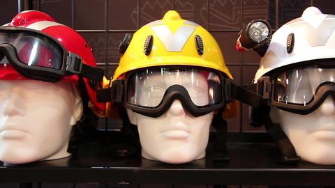 Mannequins with protective helmet and goggles Footage