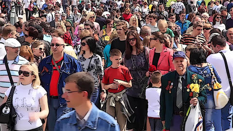 Anonymous Crowd Of People. Cartoon Effect stock footage