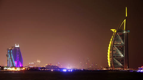 Night hotels - Burj Al Arab and Jumeirah, United Arab Emirates Footage