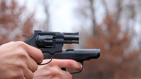 Revolver and pistol shooting Footage
