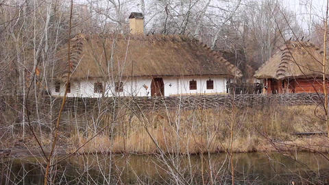 Ukrainian hut with thatched roof Footage