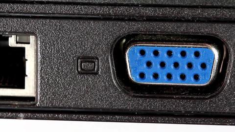 VGA and LAN sockets in laptop Footage