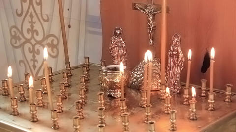 Candles in orthodox church Footage