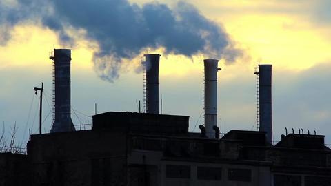 Smoking chimneys of heat electropower station Footage