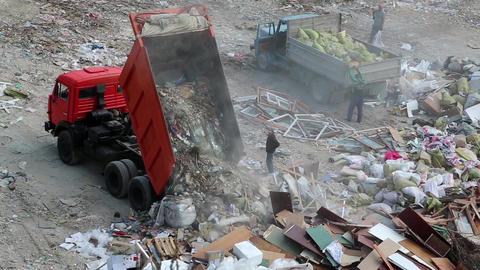 Dump truck on landfill Footage