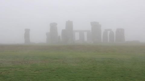 Stonehenge in the fog, England Footage