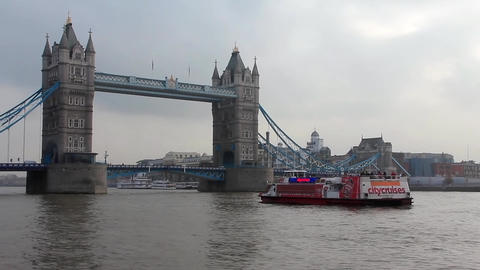 Tower Bridge Over River Thames, London, England stock footage