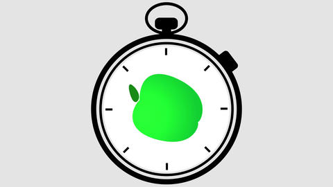 Stopwatch Healthy Apple Symbol Footage