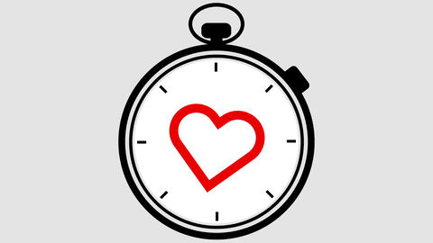 Stopwatch Heart Symbol Pulsing Live Action