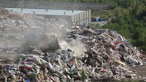 Bulldozer on landfill Footage