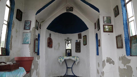 Interior of small temple Footage