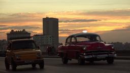 Cuba La Habana Havana View Of Vintage Cars Traffic Footage