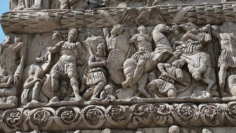 Bas-relief On Ancient Arch Of Galerius In Thessaloniki, Greece stock footage