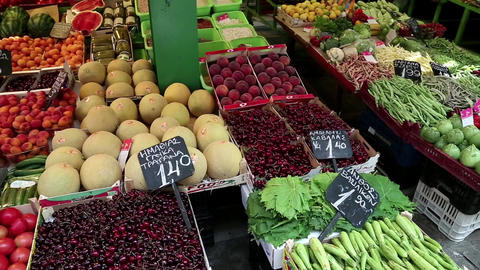 Shop counter with fruits Live Action