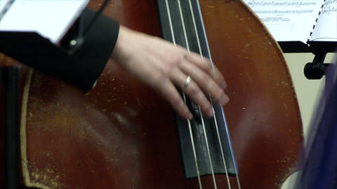 Bow-bass musical instrument during a speech and ha Footage