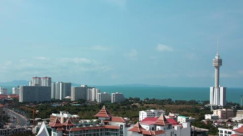 4K Panorama View Of Pattaya City And Gulf Of Siam, Thailand stock footage