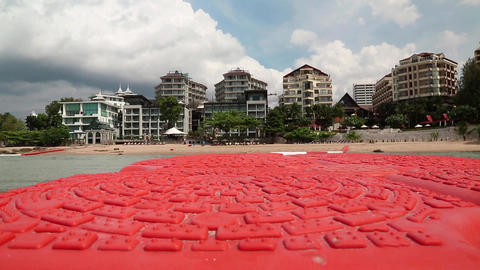 Buildings On The Shore Of Gulf Of Siam In Pattaya, Thailand. View From The Sea stock footage