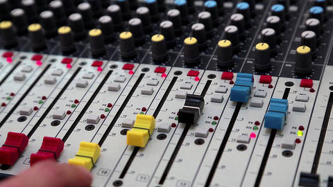 Man working with console for audio production Footage